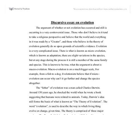 Discursive Essay Exles by Discursive Essay On Evolution Biological Sciences Marked By Teachers