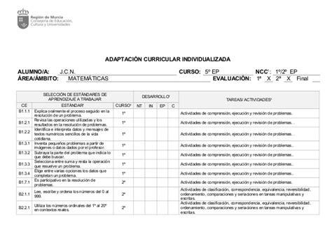 Modelo Adaptacion Curricular Ingles Primaria Ejemplo De Pti