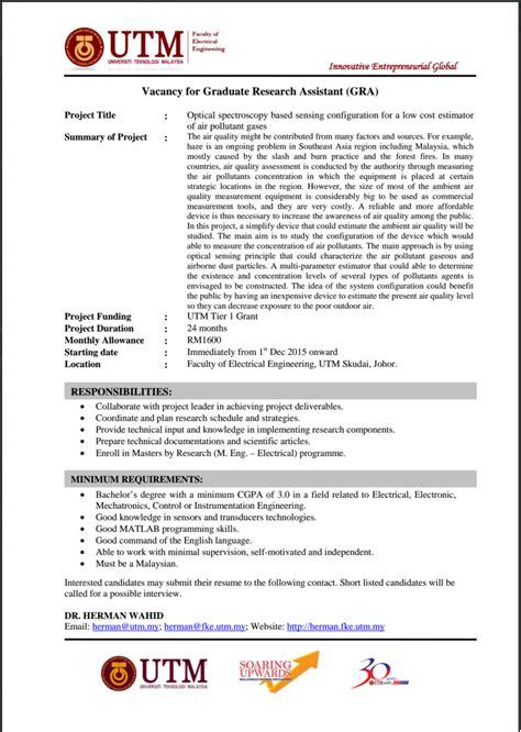 design engineer job vacancy in malaysia gra vacancy at faculty of electrical engineering utm