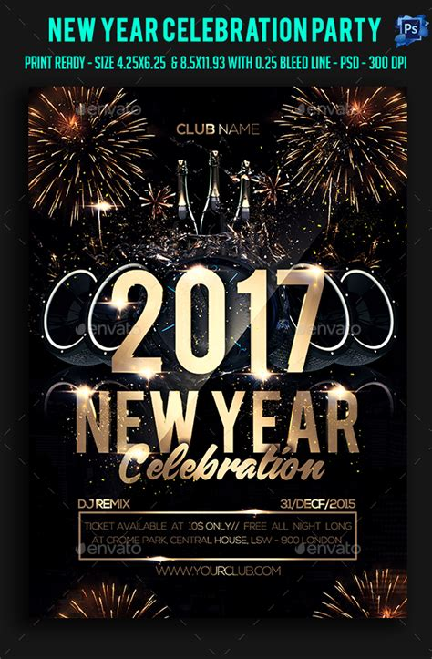 new year poster psd new year celebration flyer flyer psd