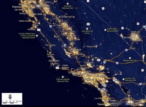 southern california light company nighttime lights in southern california in 2012 as seen