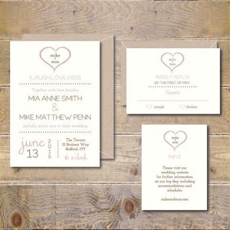 Simple Handmade Wedding Invitations - printable wedding invitations diy wedding invitation