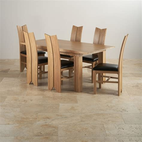 solid oak dining table and 6 chairs dining set in oak table 6 tulip black leather chairs