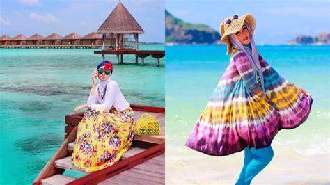 Baju Pantai Simple 7 tutorial gaya berhijab untuk piknik ke pantai buatmu yang ingin til sopan dan nggak lebay