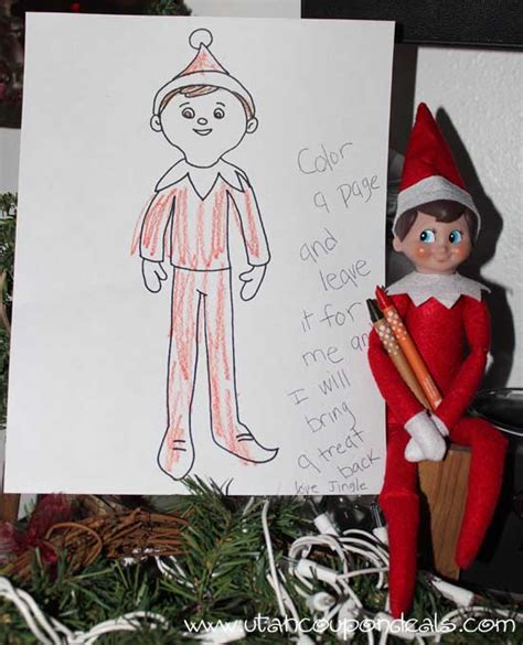 elf on the shelf ideas printable coloring page for a