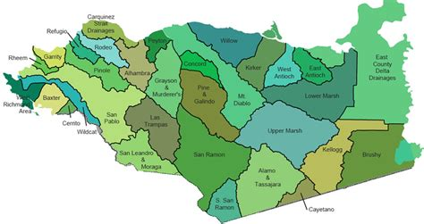 map of contra costa county ca watershed maps