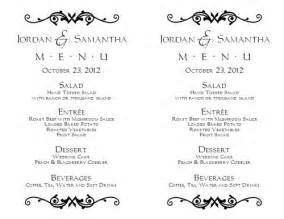 Free Wedding Menu Templates For Microsoft Word by Wedding Menu Template Wedding Menu Template 1