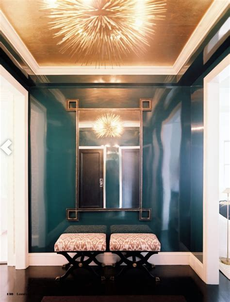high gloss, peacock blue lacquered walls, gold leaf
