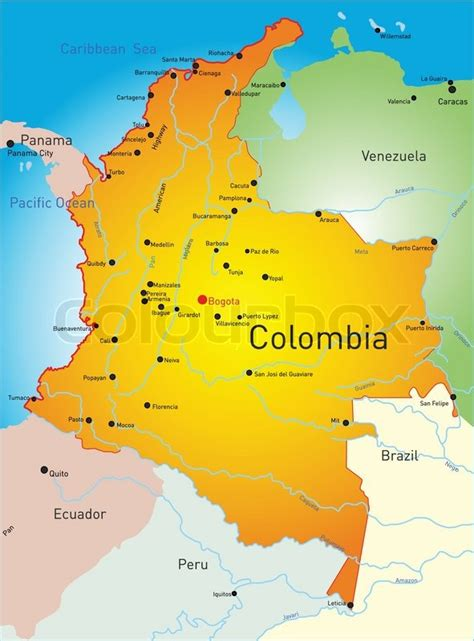 colombia vector map vector map of colombia country stock vector colourbox