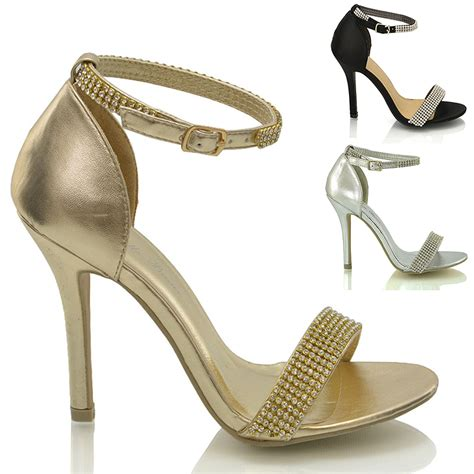strappy sandal heels stiletto ankle diamante womens high heel