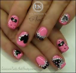 Pink black gel nails with hearts bows polka dots custom pink gel mani