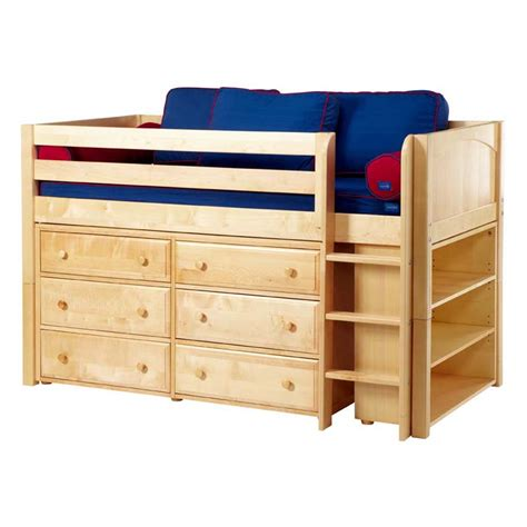 Beds And Dressers by Box Low Loft Bed With Dressers And Bookcase