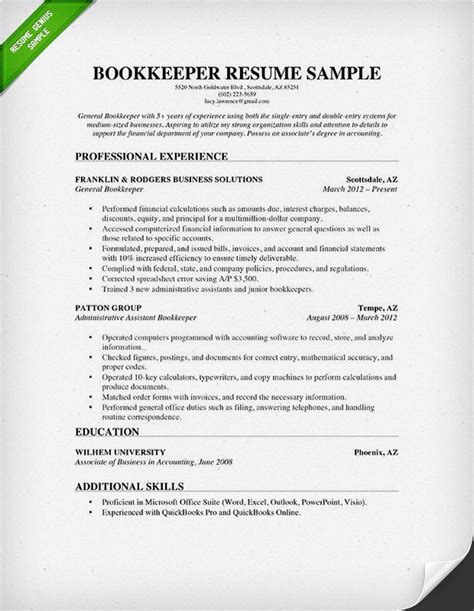 Resume Sles Bookkeeper Position bookkeeper resume sle projects to try