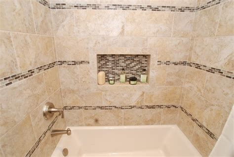 bathroom border tile ideas furniture vanity rectangle sink glass tile inlay border rows transitional