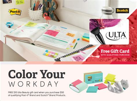 Ulta Beauty Gift Card - ulta beauty free gift card with post it purchase access office products