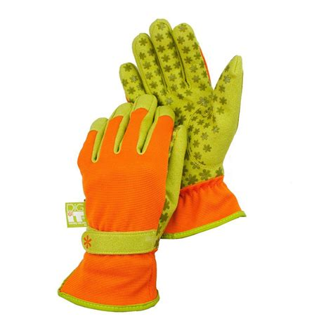 Garden Gloves by G F Medium Green Blue Soft Jersey Garden