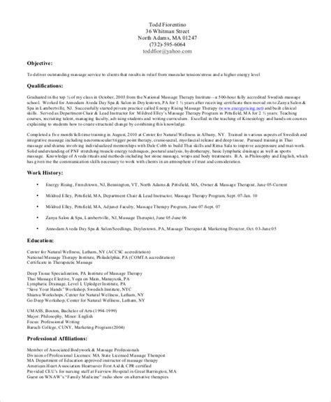 therapy resume objectives sle therapist resume 7 exles in pdf