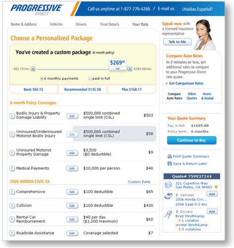 Progressive insurance online quote : Budget car insurance