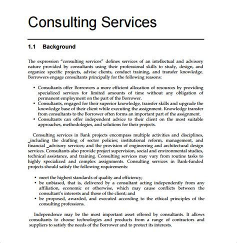 Free Consulting Template by Consultant Template 7 Documents In Pdf
