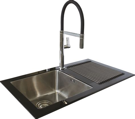 glass kitchen sink single bowl single drainer black reflection glass sink