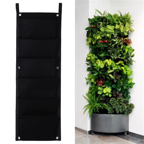 New 6 Pockets Black Hanging Vertical Wall Garden Planter Wall Garden Pots