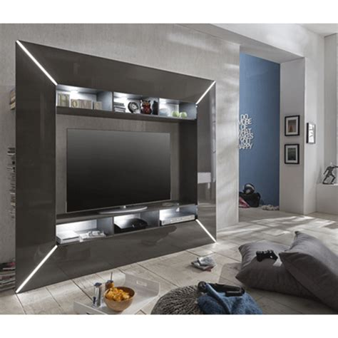 Finished Bathroom Ideas chicago tv entertainment unit in grey high gloss with led li