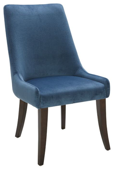 Blue Fabric Dining Chairs Artefac Beautifully Sculpted Blue Fabric Dining Chair Dining Chairs Houzz