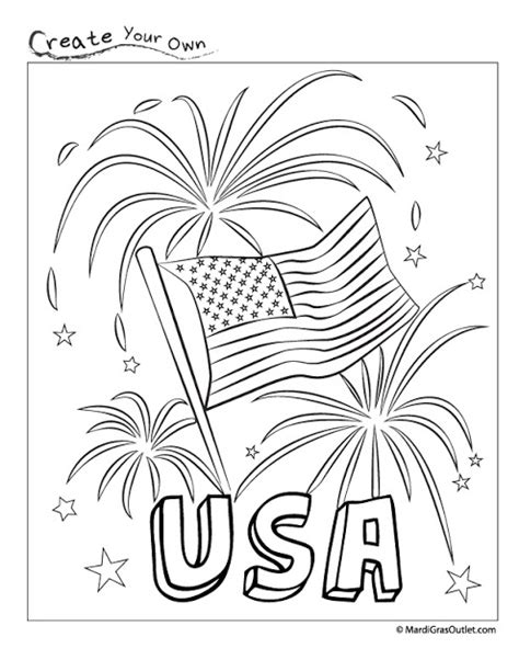 patriotic free printable coloring page red white and