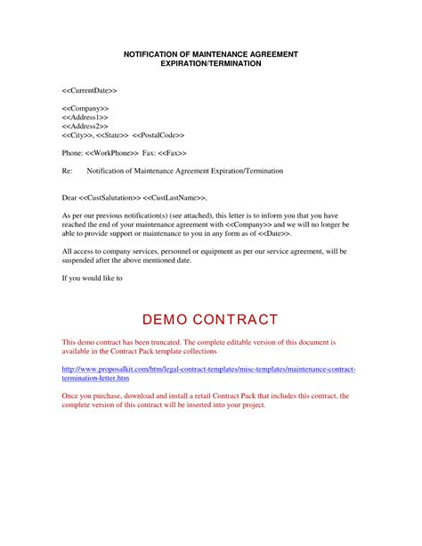 Contract Expiration Notification Letter Contract Termination Letter Free Printable Documents