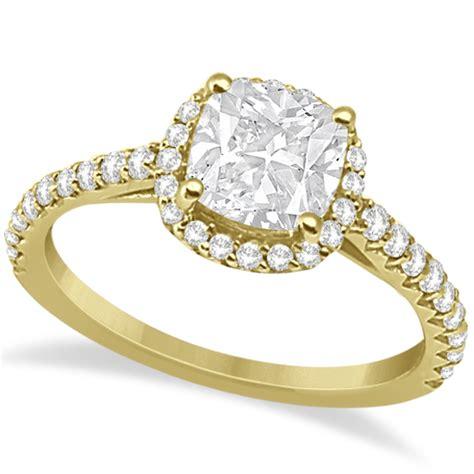 halo design cushion cut engagement ring 14k yellow