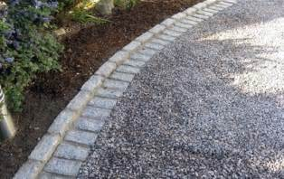Grey Gravel Driveway Gray Gravel With Cobblestone Edging Landscaping Ideas