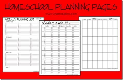 home school lesson plans my homeschool planning pages