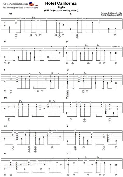 fingerstyle tutorial pdf hotel california fingerstyle guitar and guitar on pinterest