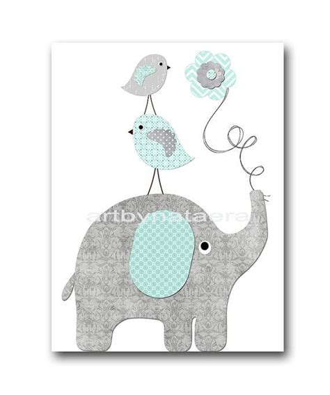 Bird Decor For Nursery Elephant Bird Gray Mint Instant Baby Boy Nursery Wall Baby Nursery Decor