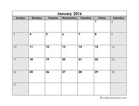Blank Calendar Month Template by 2016 Blank Monthly Calendar Free Printable Templates