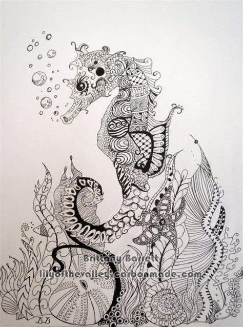 Printable Cheek Art Designs seahorse zentangle design print beautiful bristol and