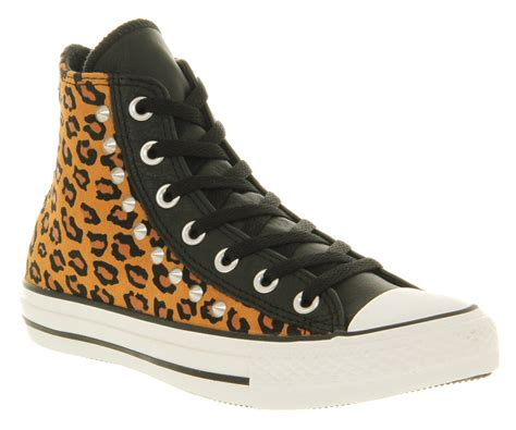 office snow leopard converse converse all star leather hi leopard stud smu trainers shoes