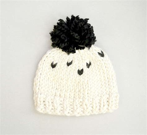 black and white knit everyday chunky knit toddler hat pattern in a stitch