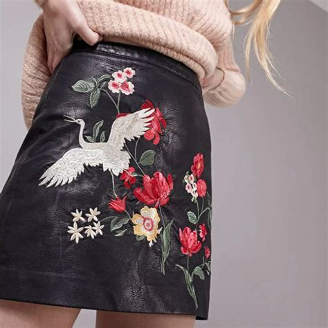 Skirt Flower Co914 Bj aliexpress buy 2017 new faux pu leather skirts