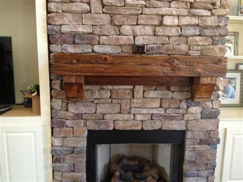 Rustic Brick Fireplace by Cedar Mantel Beautiful Accent Both To Cover And Trim