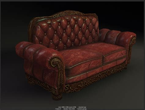 sofa game 3d model antique sofa game model vr ar low poly obj