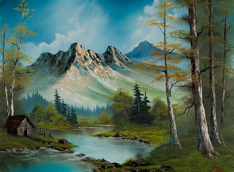 bob ross painting poster mountain retreat painting by c