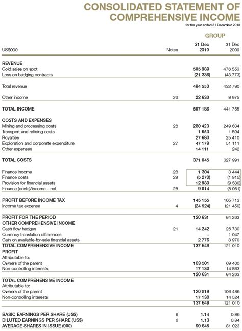 consolidated income statement template annual report 2010 financial statements