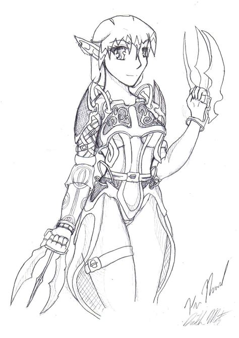 anime elf coloring pages anime elf warrior coloring pages sketch coloring page