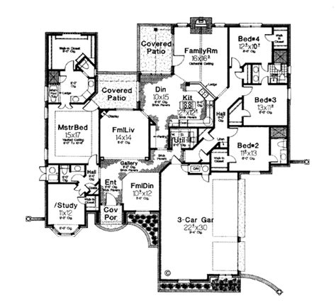 european style house plan 4 beds 3 5 baths 2818 sq ft
