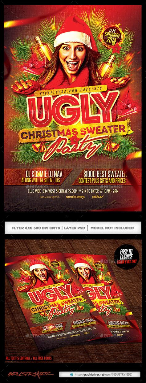dafont ugly sweater ugly christmas sweater party flyer v2 by industrykidz