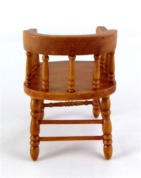 Wooden Captains Chairs by Dolls House Miniature Furniture Walnut Wood Firehouse
