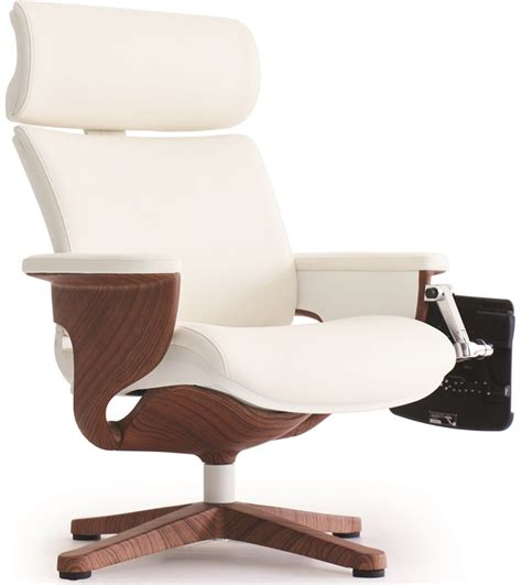 Office Chair With Built In Footrest by Nuvem Leather Office Chair With Footrest And Built In Laptop Holder White With Teak Finish