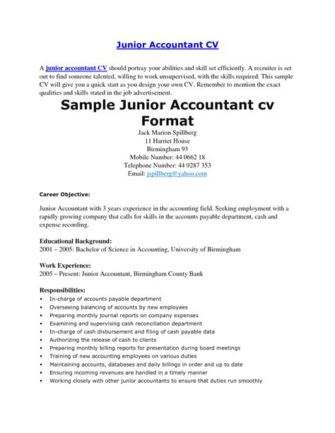 cv template junior accountant junior accountant resume sle resume ideas