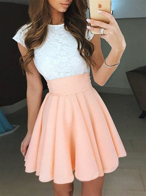 Dress Pearl Hotpink a line cap sleeves pearl pink homecoming dress